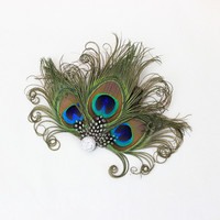 Silver Headpiece - Feather Hair Clip - Peacock Fascinator - Bridesmaids Hair Accessory - Girls Dance Costume