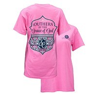 Southern Couture Preppy Southern By The Grace of God Girlie Bright T Shirt