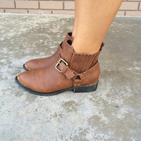 Brown With Gold Trim Mini Boots