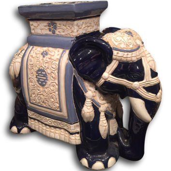 Vintage Hollywood Regency Porcelain Chinese Elephant Garden Seat Chair Stool