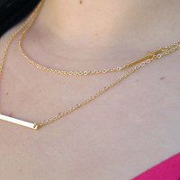 Layering Necklace Set - Delicate Gold Layer Necklaces - Layer Necklace - Rectangle Necklace - Cross Necklace - Layered Necklace