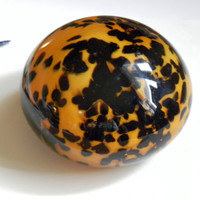 Leopard Print Glass Paperweight Paper Weight NEW with tags.
