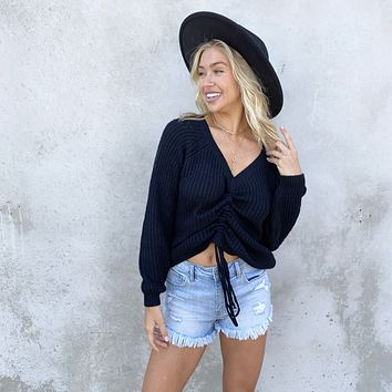 Always Fun Cinched Knit Sweater in Black