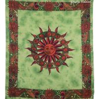 Green Sun Moon Astrology Cotton Tapestry Wall Hanging Bedspread on RoyalFurnish.com