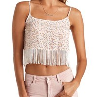 Floral Print Fringe Crop Top by Charlotte Russe - Ivory Combo