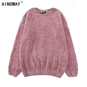 High quality vintage Women chic Gold Velvet  knit sweaters o-neck long sleeve chenille pullover sweaters female oversized