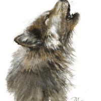 Wolf print . Animal watercolor Illustration. Black and Brown.