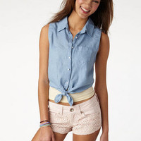 Eyelet Back Chambray Tie-Front Tank