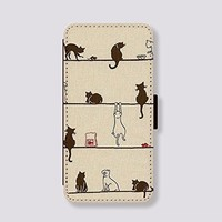 Cats for iPhone 5 Cover Picture Leather Phone Holster Pouch Phone Covers