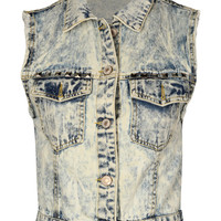 Courtney Distressed And Studded Denim Cropped Waistcoat