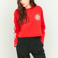 BDG United Long Sleeve Red Foil Cropped Top - Urban Outfitters