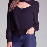 Navy Cut-out Long Sleeve Blouse