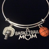 Basketball Mom Hoop Ball Charm Silver Expandable Charm Bracelet Sports Gift Adjustable Bangle