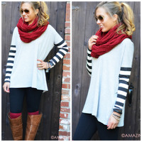 Racing Stripes Heather Grey Stripe Sleeve Tunic