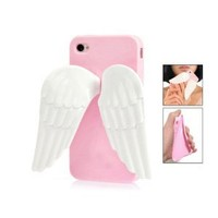 Pink 3D Angel Wing Silicone Stand Case Cover for iPhone 4 4G 4S
