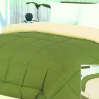"""Cozy Home 1-Piece Microfiber Reversible Solid Comforter - Twin - 66"""" x 86"""" - (Ivory/Sage)"""