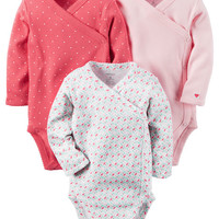 3-Pack Long-Sleeve Side-Snap Bodysuits