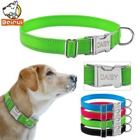 Reflective Engraved Dog Collar Nylon Personalized Night Safe Collars with Metal Adjustable Buckle For Small Medium Large Pet