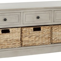 Damien 3 Drawer Storage Bench Vintage Grey