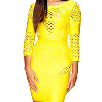 Sexy Cut Yellow Long Sleeve Bodycon Party Bandage Dress
