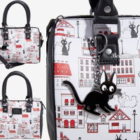 Licensed cool Loungefly Her Universe Studio Ghibli Kiki's Delivery Service Jiji Cat Barrel Bag