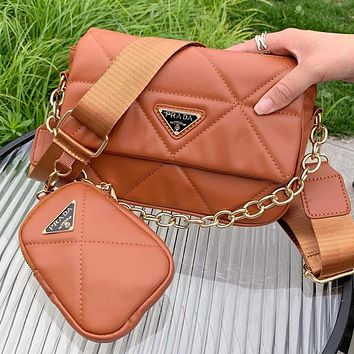 PRADA new product solid color sewing thread flap shoulder bag two-piece crossbody bag Brown