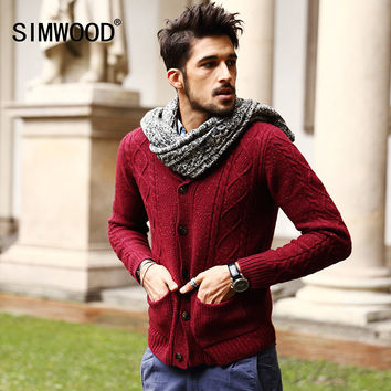Men's 70% Wool Mens Sweaters Winter Autumn Cardigan Men 2016 New Fashion Casual Slim Pockets Red Sweater Plus Size MY331