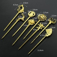 Game of Thrones Hair Sticks Jewelry Stark Wolf Logo Pins Hair Stick Handmade Jewelry Vintage HairPin Gift Hair Accessorie