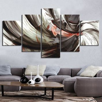 5 Panel Canvas Printed Naruto Kakashi Animation Poster Home Decor For Living Room Picture Wall Art Painting Modern Artwork