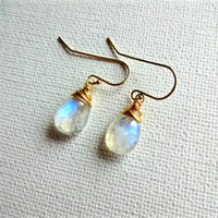 Large Faceted Rainbow Moonstone Dangle Earrings; Natural Moonstone 925 Sterling Silver Delicate Earrings; Something Blue Jewelry; Gift Idea
