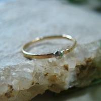 Gold with Silver Dot Stacking Ring 16g Single