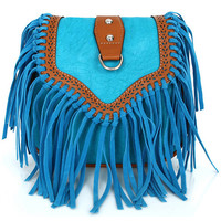 Light Blue Leather Tassels Bag
