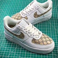 Gucci X Nike Air Force 1 Af1 Low White Brown Sport Shoes - Sale