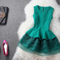 Solid Color Sleeveless Vest with Cake Skirt