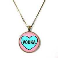 vodka conversation heart necklace funny pop culture party girl jewelry pastel goth