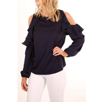 Women Simple Frills Strapless Long Sleeve Solid Color Chiffon Shirt Tops