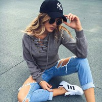 Casey Lace Up Sweater
