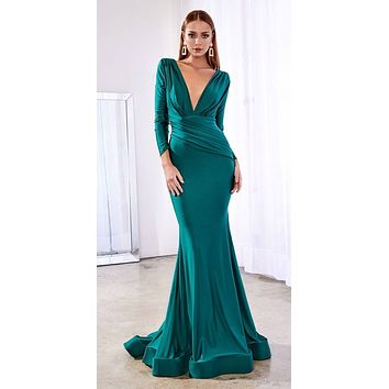 Fitted Jersey Emerald Gown Long Sleeves Open Back Gathered Waistband