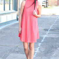Perforated Lace High Neck Swing Dress {Coral}