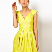 ASOS Lace Skater Dress With Sexy Neck