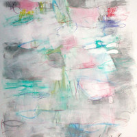 "Intuitive Art on Paper, Abstract Expressionist Painting, Light, Soft, Gestural ""Retracing"" 14x17"