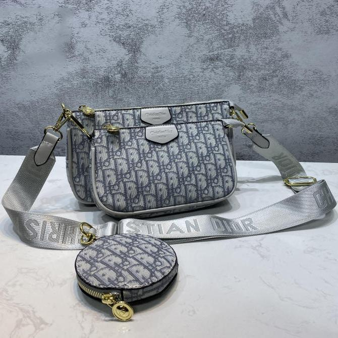 Image of Dior CD hot selling three-piece set classic zipper one shoulder messenger bag ladies chain bag coin purse