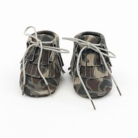 Hi-Top Baby Gladiator Leather Moccasins Camouflage