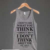 I Don't Care What You Think About Me (Tank)-Athletic Grey Tank