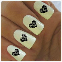 Valentine's Nail Decal 20  Vinyl Adhesive Decals Nail Tattoos  Nail Art Heart Nail Design