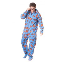 Superman Footed Pajamas for Adults