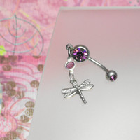 Sterling Silver Dragonfly Belly Button Ring by joolrylane on Etsy