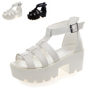 Strappy Platform Block Heel Chunky Peep Toe High Sandals