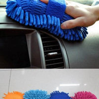 Hot New  practical Blue  Orange  Light  blue  Fushcia  colors  Ultrafine Fiber Chenille Anthozoan Car Wash Gloves Car Washer Supplies HG-0512 = 1706402116