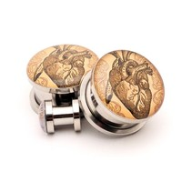 Vintage Heart Picture plugs by Mystic Metals